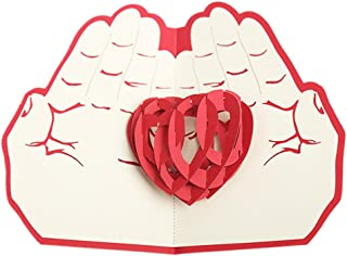 bromrefulgenc Greeting Card,Valentine's Day Gift,3D Greeting Card Heart in Hand Anniversary Birthday Wedding Craft Gift