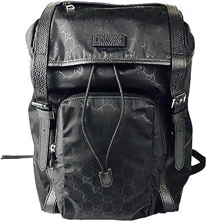 0c5ca4e304e Gucci Men s Backpack Black GG Nylon Drawstring with Leather Trim 510336 1000