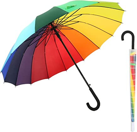 meizhouer Long Handle 16 Ribs Crooked Handle Umbrella 16K Strong Windproof Umbrella Rain Women Fashion Rainbow Patent Design Men Color Rainbow Umbrellas Auto Open and Manual Close