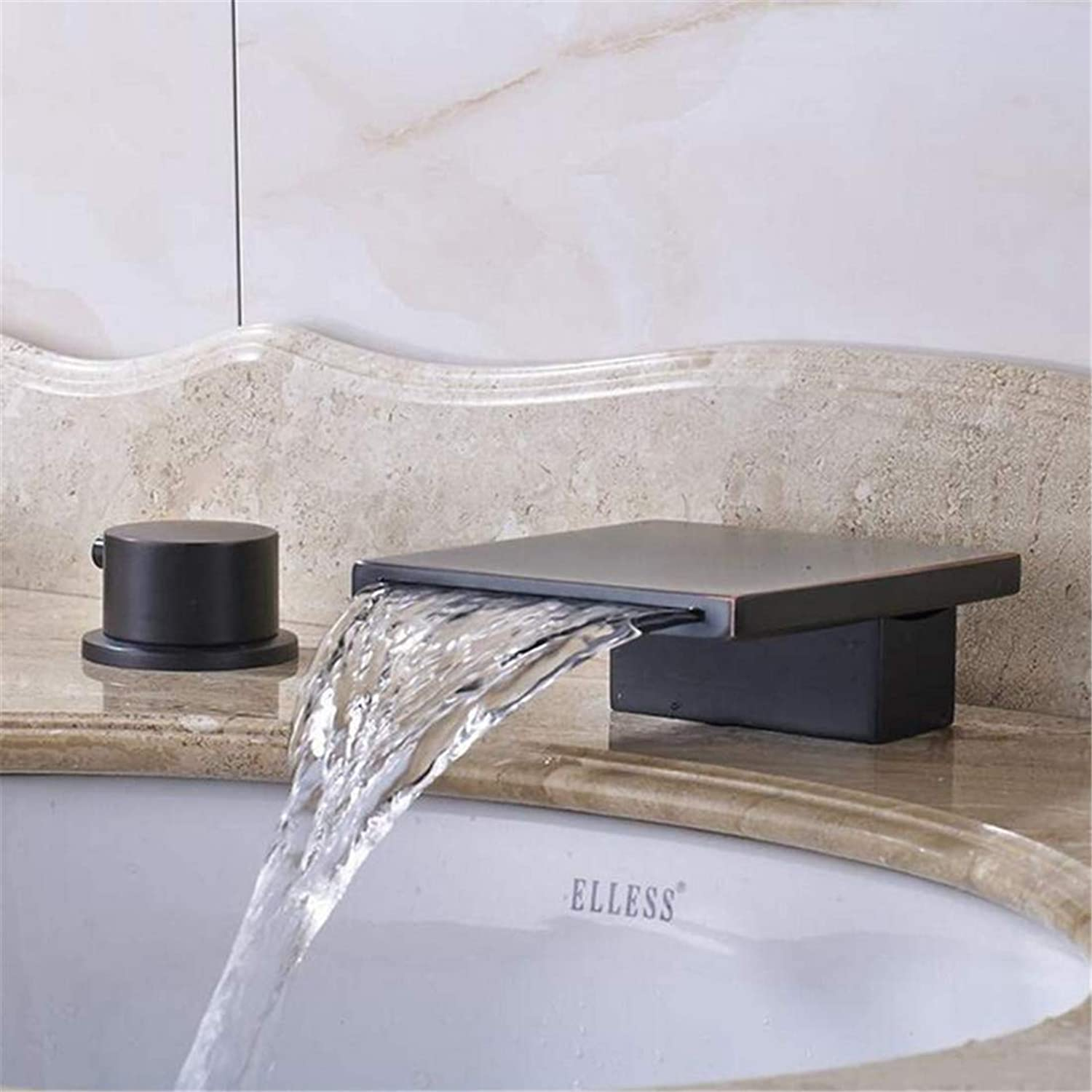 Retro Faucetwashbasin Mixer Solid Brass Oil Rubbed Bronze Widespread 3Pcs Waterfall Spout Bathroom Sink Faucet