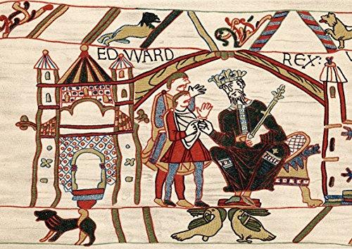 Edward de Confessor. Angelsaksische koning van Engeland uit 1042. Edward op zijn troon. Bayeux Tapijt. Fine Art Print/Poster. Afmeting A4 (29,7 cm x 21 cm)