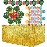 109PCS Falda Mesa Fiesta Hawaiana Falda Hawaiana Decoracion Mesa CumpleañOs Decoracion Fiesta Hawaiana Hibiscus Grass Luau Falda De Mesa Set De DecoracióN Fiesta De JardíN, Barbacoa, Playa Y Piscina