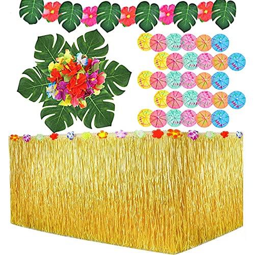 109 Stück Hawaii Tischröcke Party Deko Party ZubehöR Cocktail Pool Deko HibiskusblüTen Sommerdeko 9 Ft Hawaiian Hibiscus Gras Tisch Rock Für BBQ Tropischen Garten Strand Sommer Tiki Party Reusable