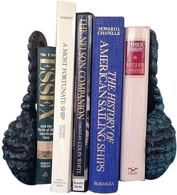"Hampton Nautical Cast Iron Sailors Knot Book Ends (Set of 2), 10"", Seaworn Blue"