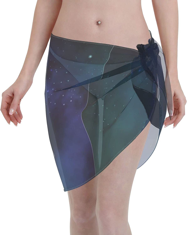 Tiogumg Space Women Short Sarongs Beach Wrap Sheer Bikini Wraps Chiffon Cover Ups for Swimwear Black