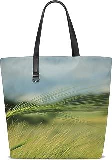 JTMOVING Women Cereals Barley Spike Barley Field Grain Food Handle Satchel Handbags Shoulder Bag Tote Purse Messenger Bags
