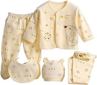 et/à 0 pantaloncini Wangsaura set pigiama beb/è in cotone da 5 pezzi composto da cuffietta bavaglino 3/mesi pigiamino ideale come regalo per nascituro