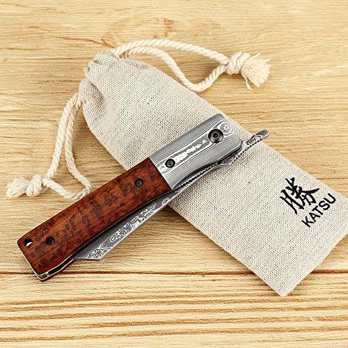 KATSU Handmade Damascus Steel Japanese Razor Pocket Folding Knife with Snake Wood Handle and Damascus Bolster