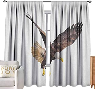 Andrea Sam Tie-Up Window Curtain Eagle,Image of a Hunter Flying Looking for Prey Predator Scenes from Nature, Cream Dark Brown Yellow Adjustable Tie Up,W120 x L108 inch