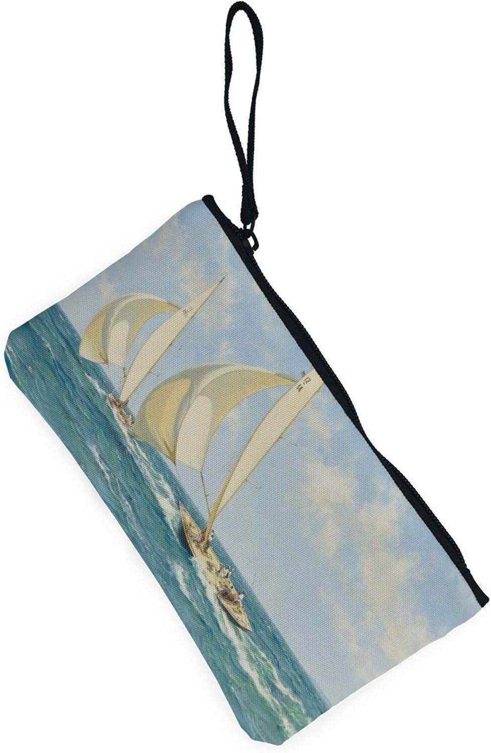 AORRUAM Sailboat Ship Canvas Coin Purse,Canvas Zipper Pencil Cases,Canvas Change Purse Pouch Mini Wallet Coin Bag