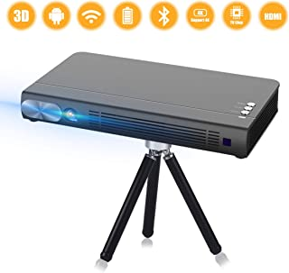 Mini Projector T6 2020 NEW Upgrade Android 6.0 Protable Video Projector Built-in Battery 3D DLP-Link 2400-Lumen Louder Spe...