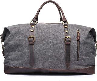 LIUFULING Men's Vintage Bag Briefcase Waxed Canvas Leather Shoulder Bag College Large Satchel (Color : Gray, Size : OneSize)