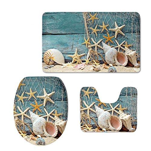 PZZ BEACH Sea Shell Starfish Sandy Beach Pattern Decorative Bathroom Rug+ Flannel U-Shaped Contour Mat+ Toilet Seat Cover, 3 Pieces Set