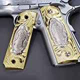 Tek_Tactical 1911 Grips Gold Virgin Mary Lady of Guadalupe Grips 1911 Full Size Grips Ambi Safety Grips