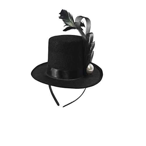 e000491fbe1 Black Mini Top Hat Fascinator On Headband Feather Pearl Stud Dancers  Showgirl