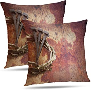 Monicl Jesus Pillowcase, Throw Pillow Covers, Jesus Crown Thorns and Nails Grunge Double-Sided Cushion Cover 18 x 18 inch Set of 2 Decorative Home Gift Jesus Crown Thorns
