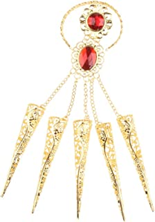 Prettyia Gold Bracelet Finger Nails for Belly Indian Dance Egyptian Man-made with Red Jewelry for Performing Dances for Actor