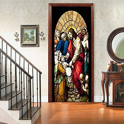 IDWX Pegatinas 3D para puerta o puerta de Adviento, se pueden utilizar para decoración de puertas de dormitorio y sala de estar, 77 x 200 cm