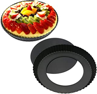 U-HOOME 9 inch Pie Pan Tart Pan With Removable Bottom, Fluted Pizza Pan Quiche Pan Nonstick Round Tart Pie Pan