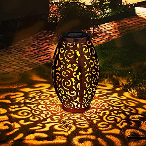 Linterna Solar Exterior, Zorara Farolillo Solares LED Colgante Luz Solar Exterior Jardín IP65 Impermeable, Farol Solar Metal Lámpara Color Cálido Luce para Terraza Camino Mesa Patio Decoración