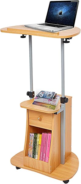 Dporticus 26 43 Adjustable Height Notebook Laptop Table Cart Lectern Podium With Swivel Top And Storage Rolling Speech Presentation Stand Oak