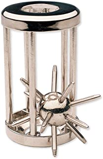 Bits and Pieces - Trapped Satellite Metal Brainteaser Puzzle - Metal Spiked Ball In Steel Chamber - Brainteaser Puzzle Mea...
