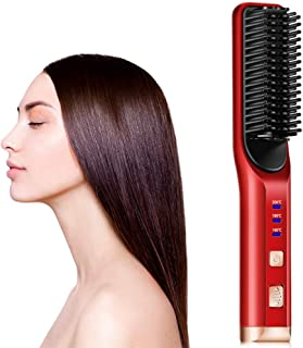 Elektrisk hårplattång USB-laddning trådlös multifunktionell skäggplattång utjämningsborste för hår och skägg