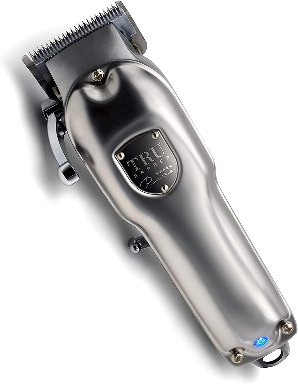 TRU BARBER Maquina cortapelos profesional REVO para barberia y peluqueria, MOTOR 6500 RPM con medidas de alzas peines de barberia. Maquina de cortar cabello.