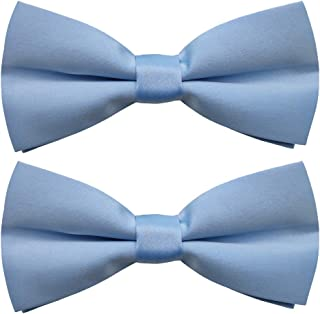 Men's Classic Pre-Tied Satin Bow Ties, 2 Packs Formal Tuxedo Bowtie Adjustable Length for Adults and Children