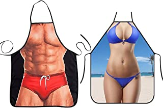2PCS Funny Aprons Waterproof Sexy Apron Muscle Man & Bikini Girl Novelty Kitchen Creative Cooking Apron Grilling Baking Party Gag Gift Aprons for Men and Women