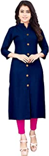 Elinekart Women's Plain Cotton Straignt Front Slit Kurti