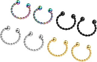 Jovivi 2-8pc Stainless Steel Non-Piercing Twist Clip On Fake Nose Septum Cliker Cartilage Helix Hoop Rings 10mm