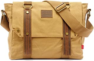 Mens Bag Color: Brown Simple Retro Zip Canvas Briefcase Shoulder Bag Messenger Bag High capacity