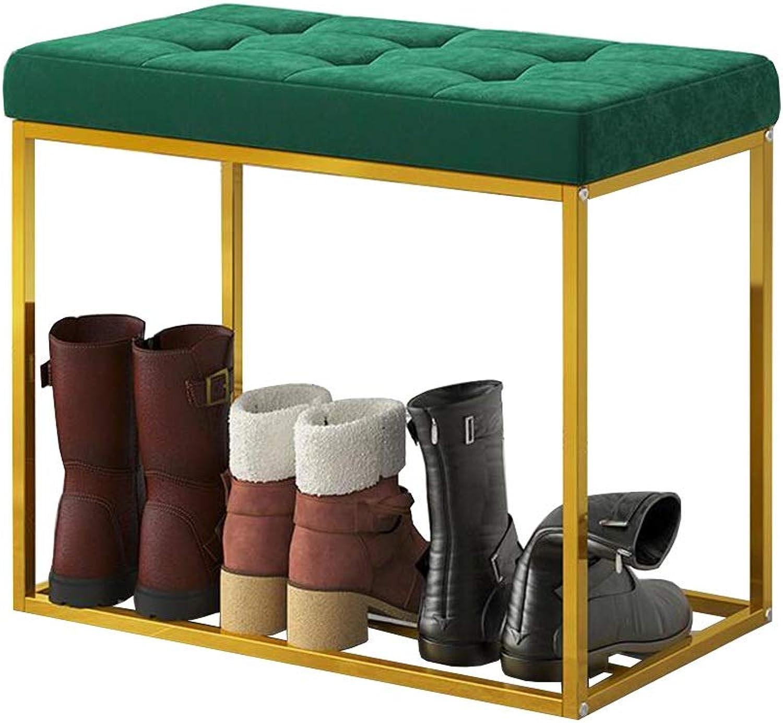 Dall shoes Bench shoes Rack Single Layer Storage Sponge Cushion Metal Frame Hallway 5 colors 2 Size (color   Green, Size   60CM)
