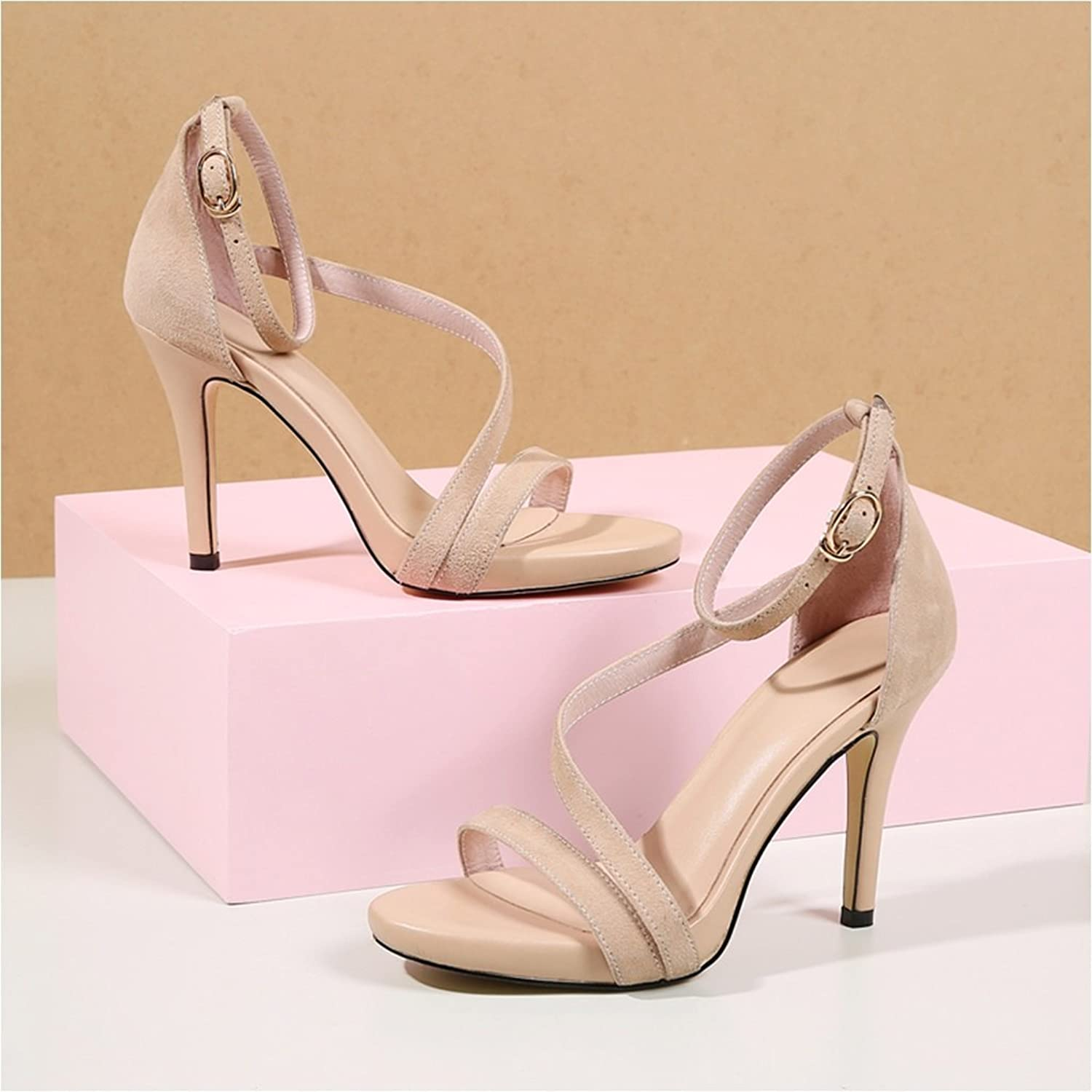 Sexy Fashion high Heels sandals Female Summer New sandals Simple Word Buckle Leather Roman shoes (high 10cm) (color   Beige, Size   34)