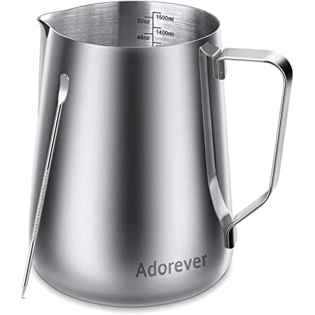 600ML Stainless Steel Milk Frothing Pitcher Cup with Thermometer and Latte Art Pen for Making Latte Coffee Cappuccino Milk Jug