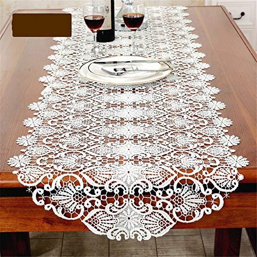 TYJKL Impresión Camino de Mesa Bordado Blanca Flores Elegantemente Decorada for Boho Decoración De Sala De Estar (Color : White, Size : 50 * 280cm)