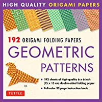 192 Origami Folding Papers in Geometric Patterns: 6x6 Inch High-Quality Origami Paper Printed with 8 Different Patterns: Origami Book with Instructions for 10 Projects Included