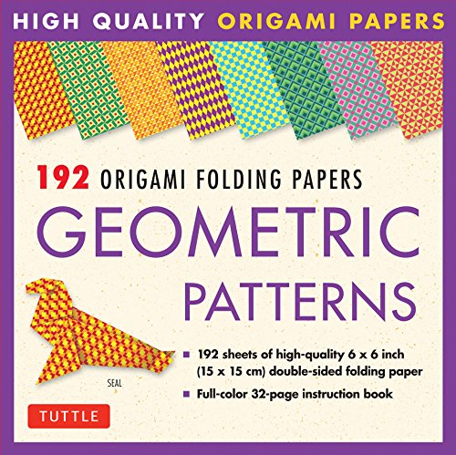 192 Origami Folding Papers in Geometric Patterns: 6x6 Inch High-Quality Origami Paper Printed with 8 Different Patterns: Origami Book with Instructions 4 Projects Included