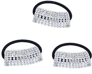 FUMUD 3PcsDesigner Fashion Elastic Rhinestone Hairtie Ponytail Holder Headband Jewelry Accessories for Women Girls Hair Band