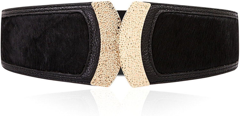 Women's Summer Leather Ladies Girdle Leopard Wide Belt Belt Belt Slim Skirt Female Fashion Decoration,Black,73cm