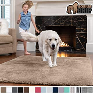 GORILLA GRIP Original Faux-Chinchilla Area Rug, 4x6 Feet, Super Soft and Cozy High Pile Washable Carpet, Modern Rugs for Floor, Luxury Shaggy Carpets for Floors, Bed and Living Room, Taupe