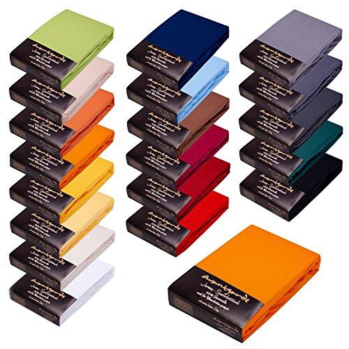 Avantgarde Spannbetttuch 90x200-100x220 - HOHER 40CM Steg F. WASSERBETT & BOXSPRINGBETT - SPANNBETTLAKEN 170g/m² - BETTLAKEN - 100% Jersey-Baumwolle - ÖKO-TEX (05-orange, 90x200-100x220)