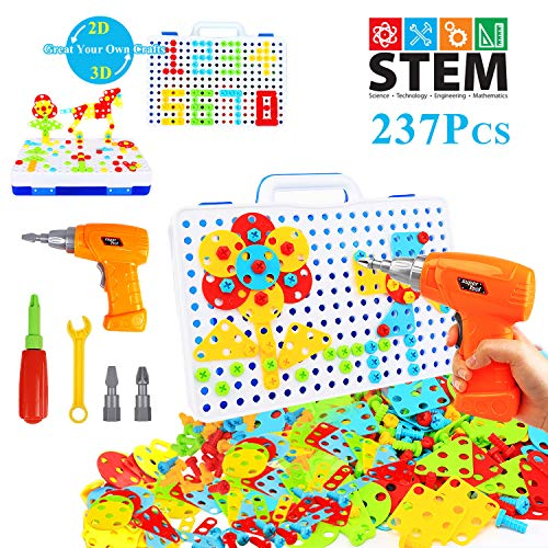 HAPTIME 237 Pieces Electric DIY Drill Educational Set, STEM Learning Toys, 3D Construction Engineering Building Blocks for Boys and Girls Ages 3 4 5 6 7 8 9 10 Year Old, Creative Games and Fun