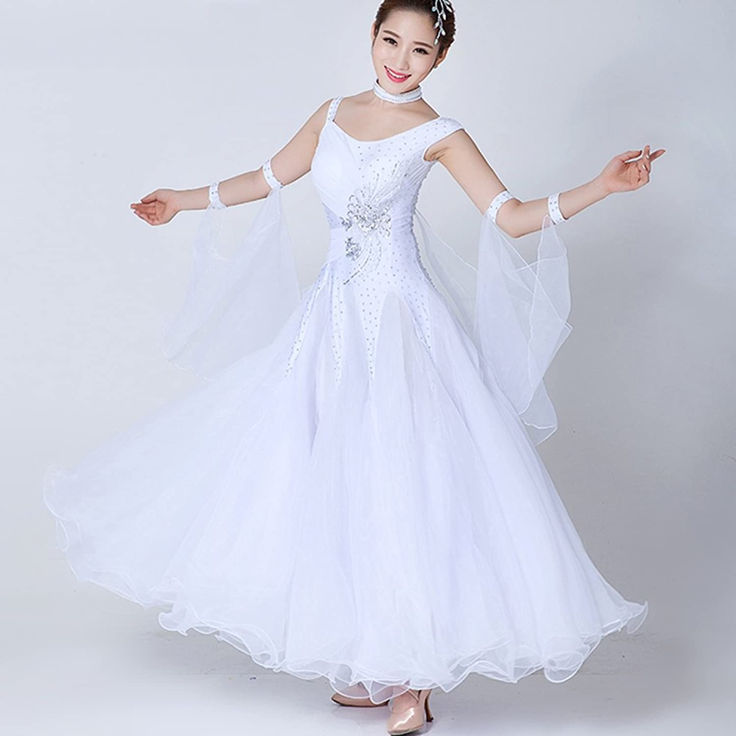 National Standard Ballroom Dance Dresses Women's Competition Performance Costume Tulle Crystals Rhinestones Tango Waltz Foxtred Natural Dress