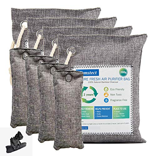 Homstect Bamboo Charcoal Air Purifying Bag, Nature Fresh Air Purifier Bags, Car Air Purifier, 4 Pack x 200g with 4 Pack x 75 g Activated Charcoal Bags, Odor Absorber for Shoes/Car/Pets/Closet/RV