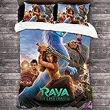 AQEWXBB Juego de funda de edredón con estampado digital 3D Raya y el último dragón, suave, cómodo, agradable al tacto, funda de edredón (Raya 4,135 x 200 cm + 80 x 80 cm x 2)