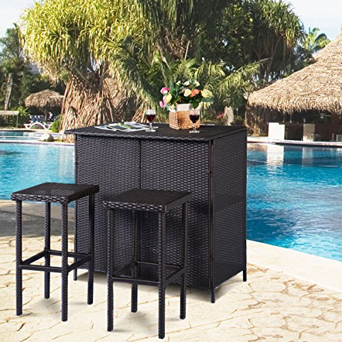 Tangkula 3 Piece Patio Bar Set Rattan Wicker Bar Stools & Table for Lawn Pool Backyard Garden Dining Set