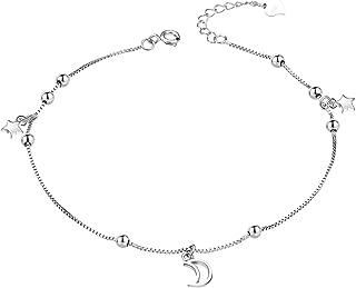 Tobillera de plata de ley 925 para mujer 24 cm sin n/íquel para verano playa joyer/ía para ni/ñas ajustable