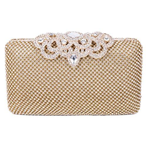 SYMALL Borsa Pochette a mano delle donne con diamanti cristalli luminosi borsetta stile elegante deluxe borsa festa sacchetto di sera, Dorato